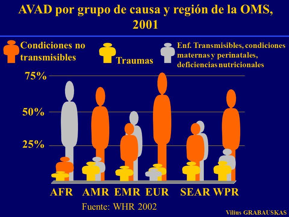 AVAD por grupo de causa y región de la OMS, 2001