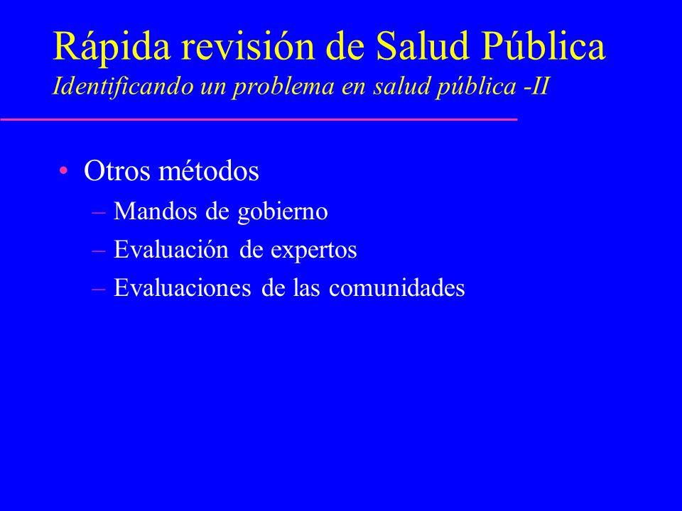Rápida revisión de Salud Pública Identificando un problema en salud pública -II