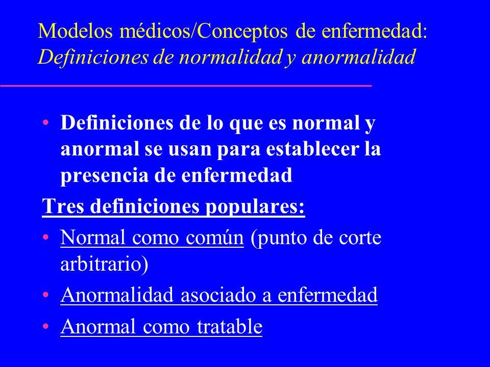 Modelos médicos/Conceptos de enfermedad: Definiciones de normalidad y anormalidad