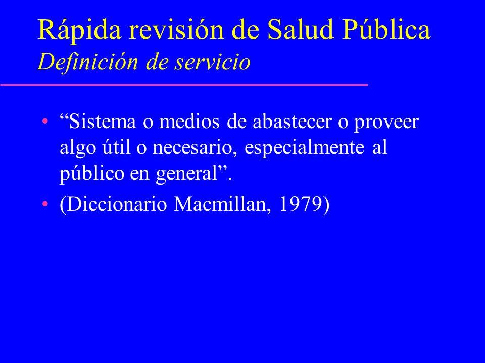Rápida revisión de Salud Pública Definición de servicio