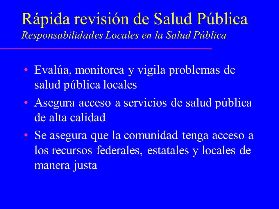 Rápida revisión de Salud Pública Responsabilidades Locales en la Salud Pública
