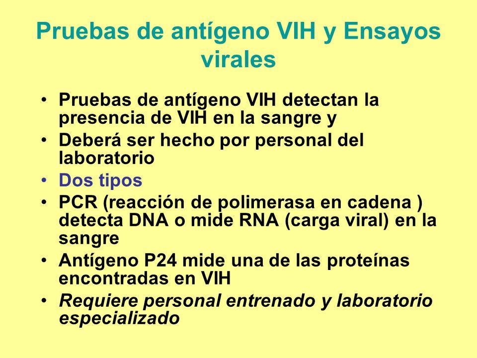 Pruebas de antígeno VIH y Ensayos virales