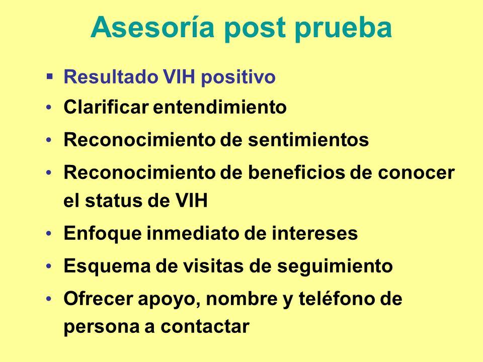 Asesoría post prueba Resultado VIH positivo Clarificar entendimiento