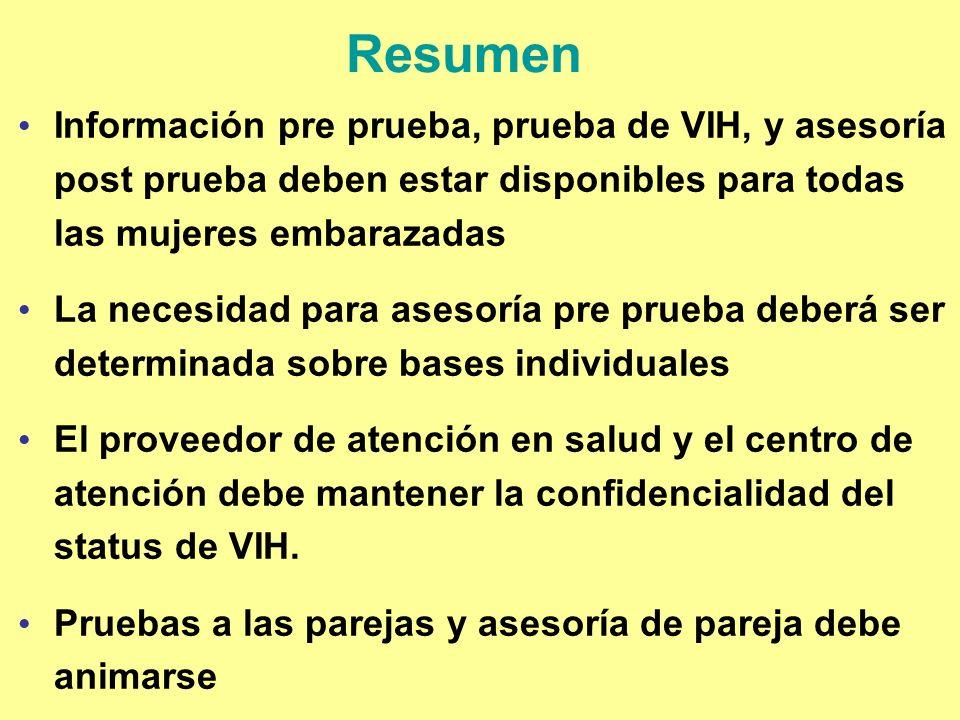 Resumen Información pre prueba, prueba de VIH, y asesoría post prueba deben estar disponibles para todas las mujeres embarazadas.