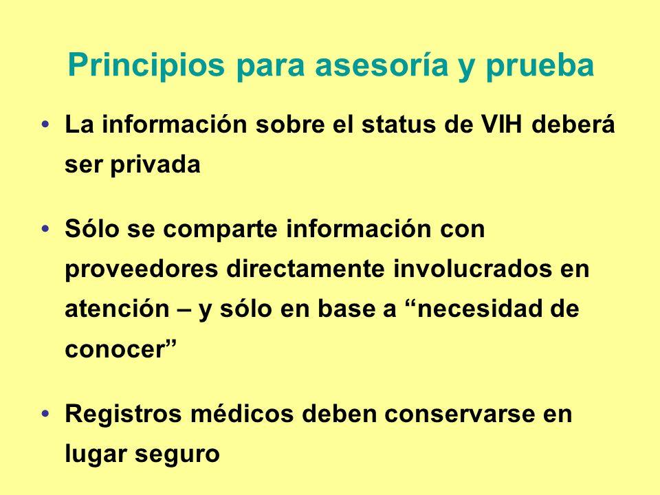 Principios para asesoría y prueba