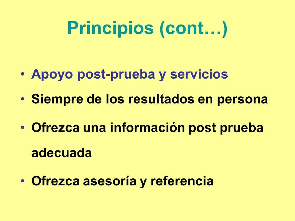 Principios (cont…) Apoyo post-prueba y servicios