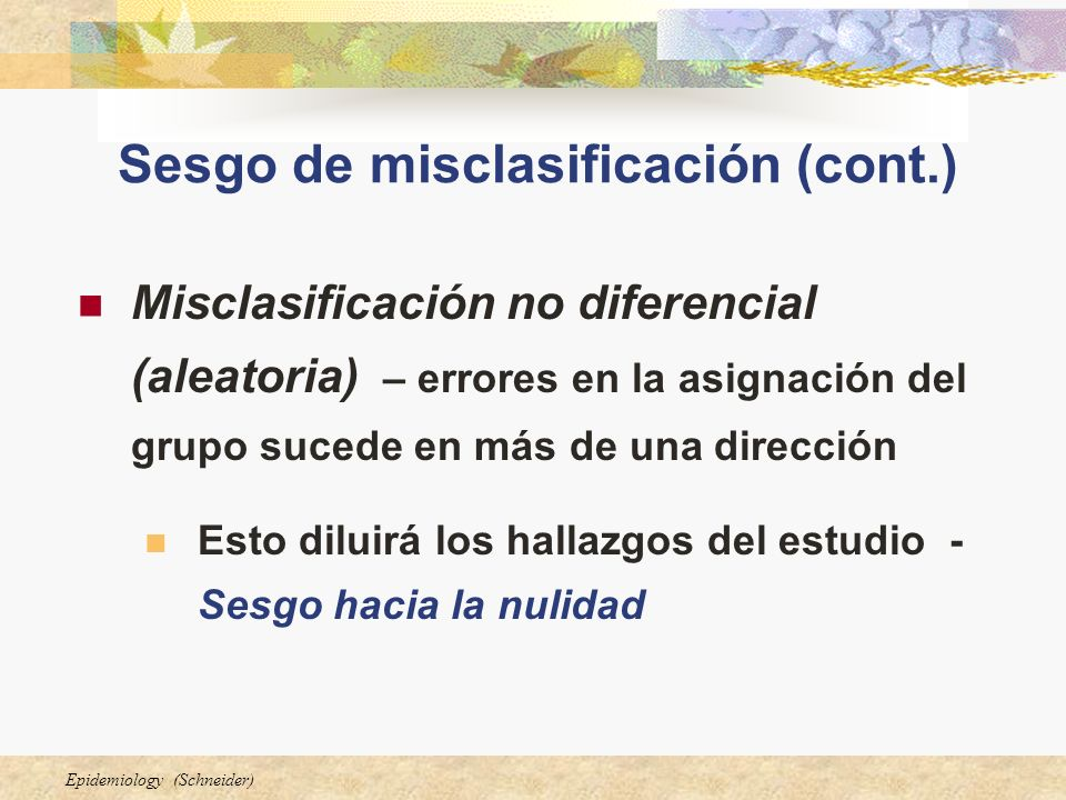 Sesgo de misclasificación (cont.)