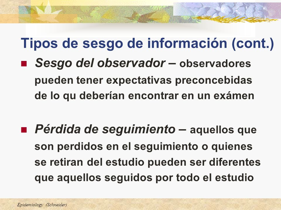 Tipos de sesgo de información (cont.)