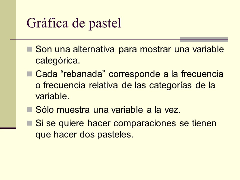 Gráfica de pastel Son una alternativa para mostrar una variable categórica.