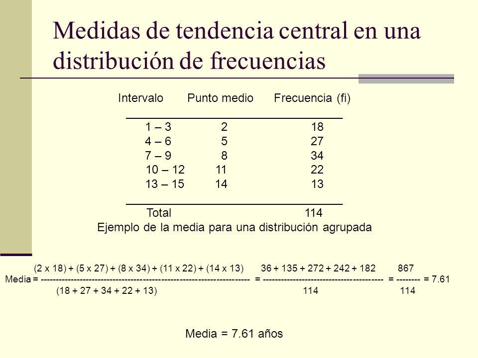 Medidas de tendencia central en una distribución de frecuencias