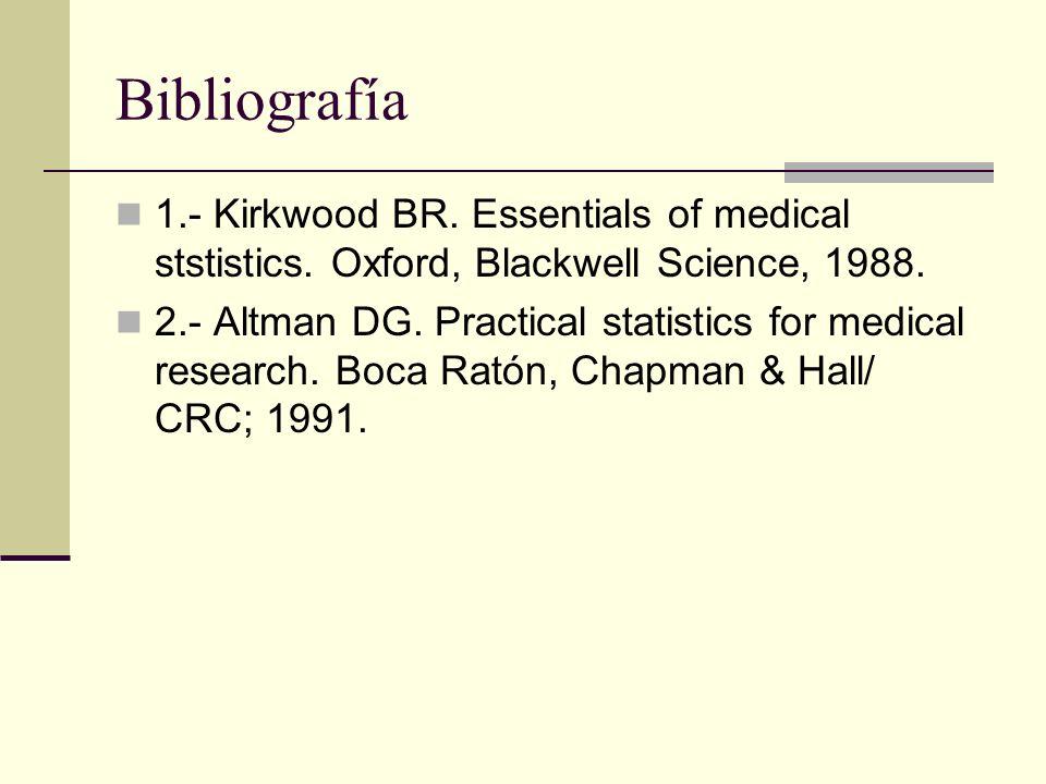 Bibliografía1.- Kirkwood BR. Essentials of medical ststistics. Oxford, Blackwell Science, 1988.