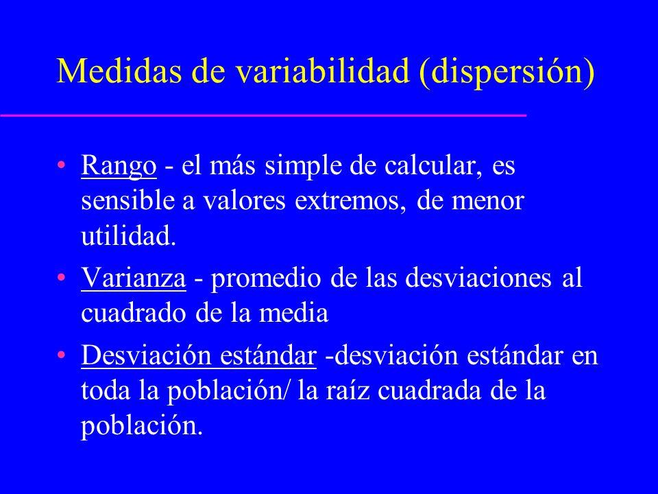 Medidas de variabilidad (dispersión)