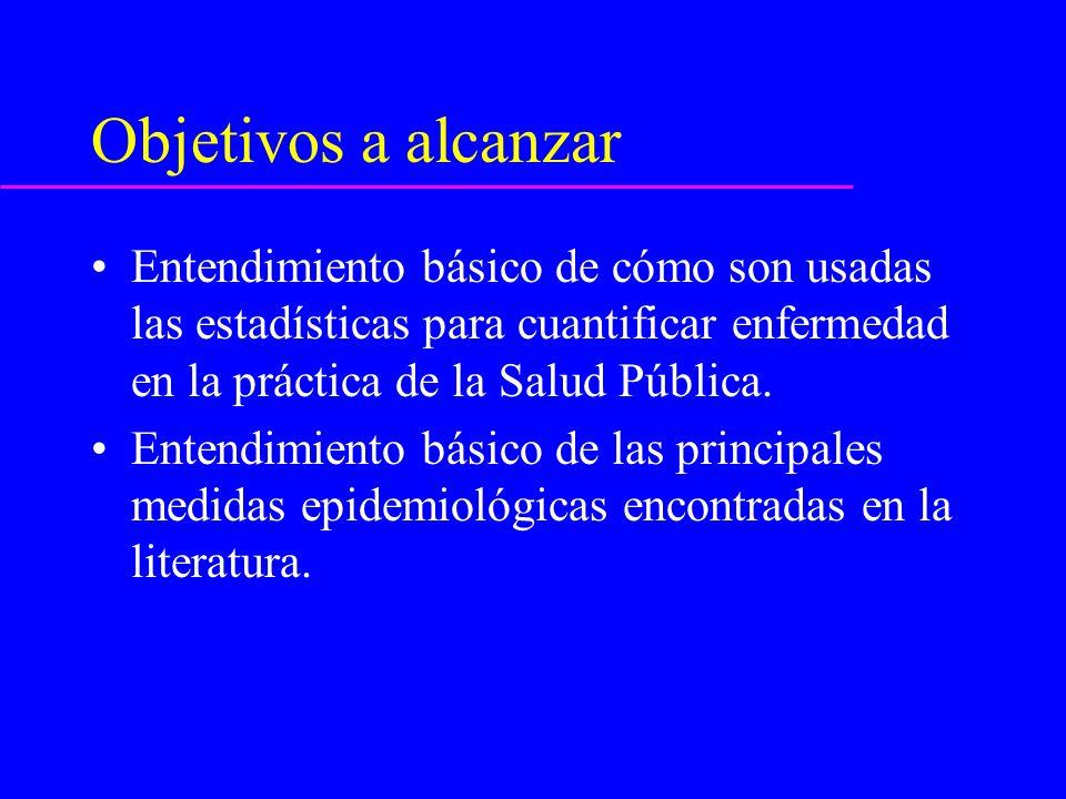 Objetivos a alcanzar Entendimiento básico de cómo son usadas las estadísticas para cuantificar enfermedad en la práctica de la Salud Pública.