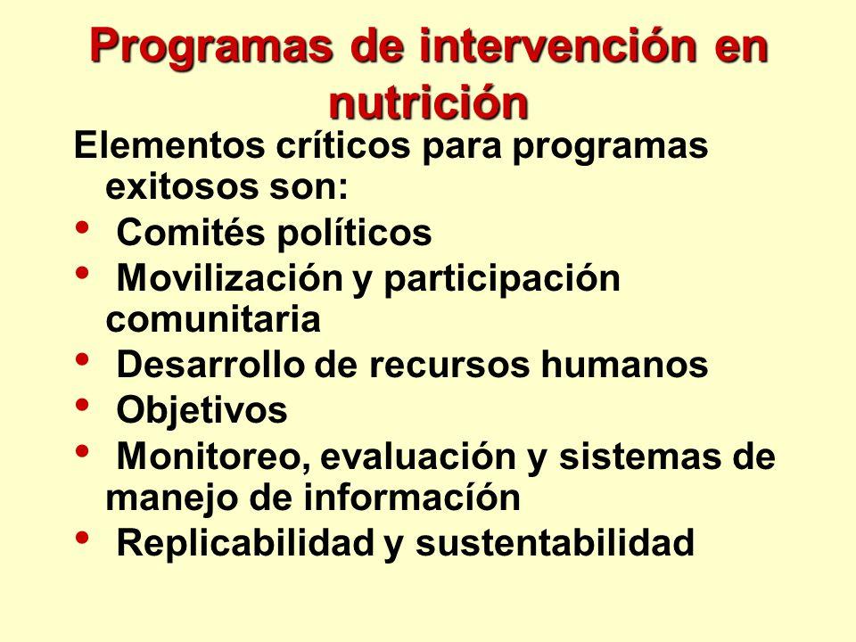 Programas de intervención en nutrición