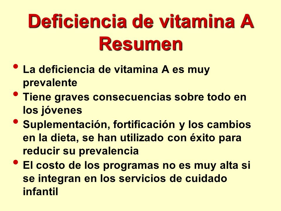 Deficiencia de vitamina A Resumen
