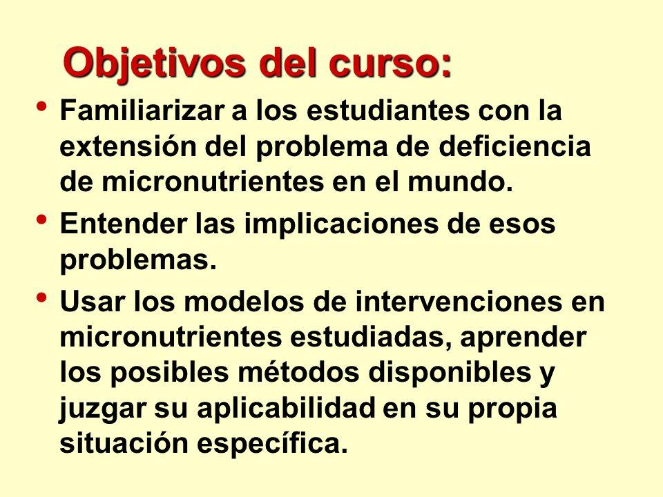 Objetivos del curso: Familiarizar a los estudiantes con la extensión del problema de deficiencia de micronutrientes en el mundo.