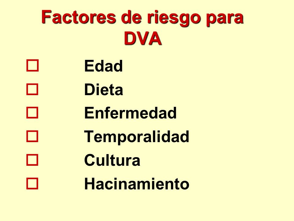 Factores de riesgo para DVA