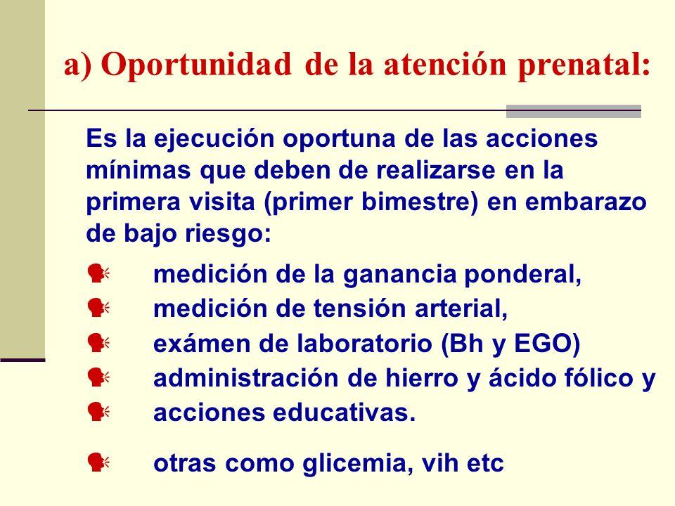a) Oportunidad de la atención prenatal: