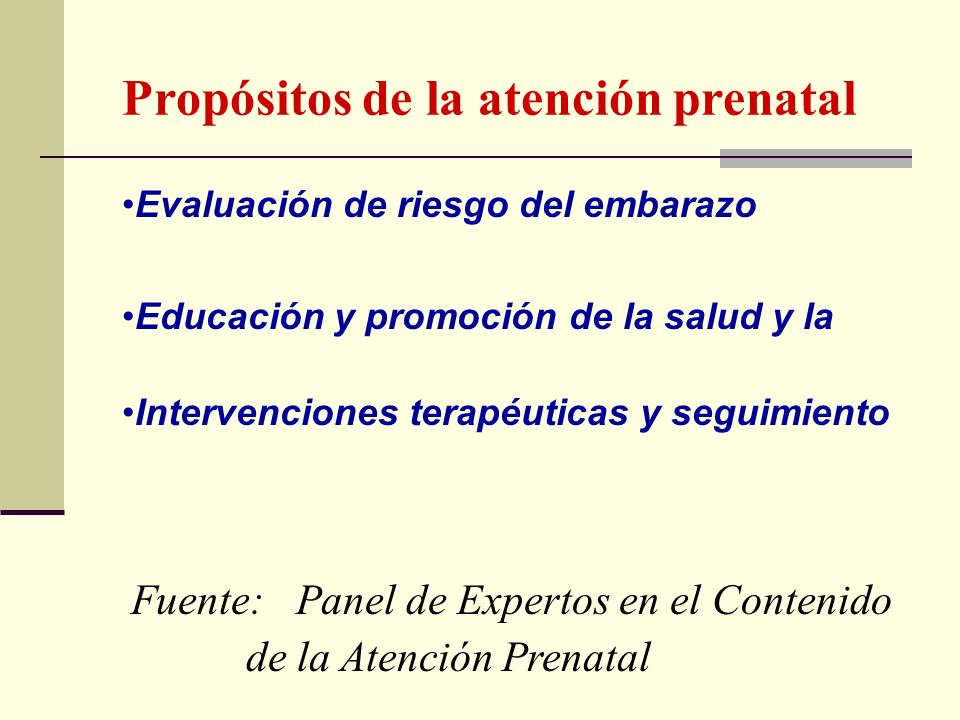 Propósitos de la atención prenatal
