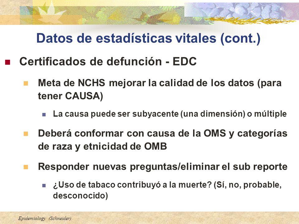 Datos de estadísticas vitales (cont.)