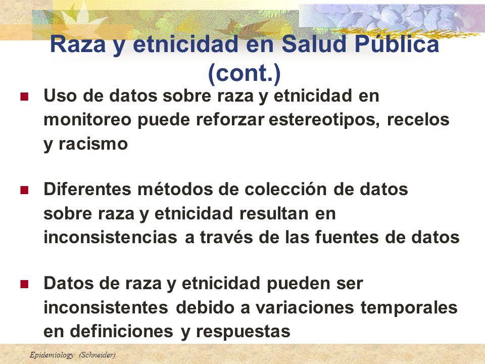 Raza y etnicidad en Salud Pública (cont.)