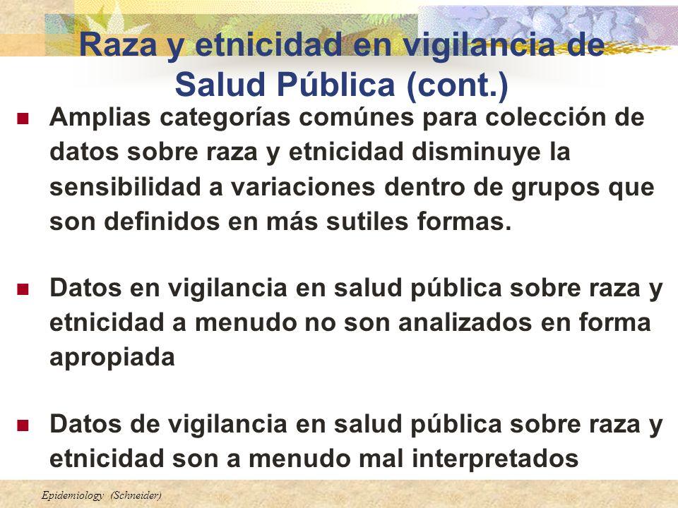 Raza y etnicidad en vigilancia de Salud Pública (cont.)
