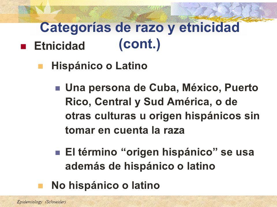 Categorías de razo y etnicidad (cont.)