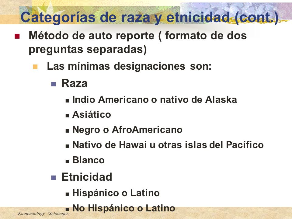 Categorías de raza y etnicidad (cont.)