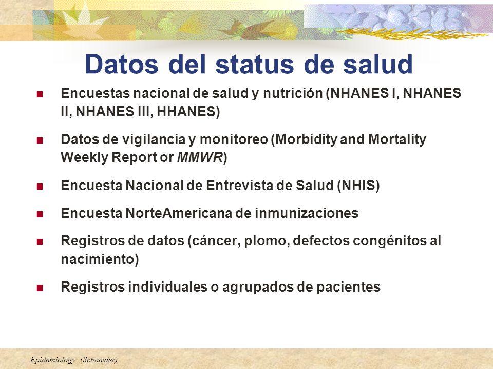 Datos del status de salud