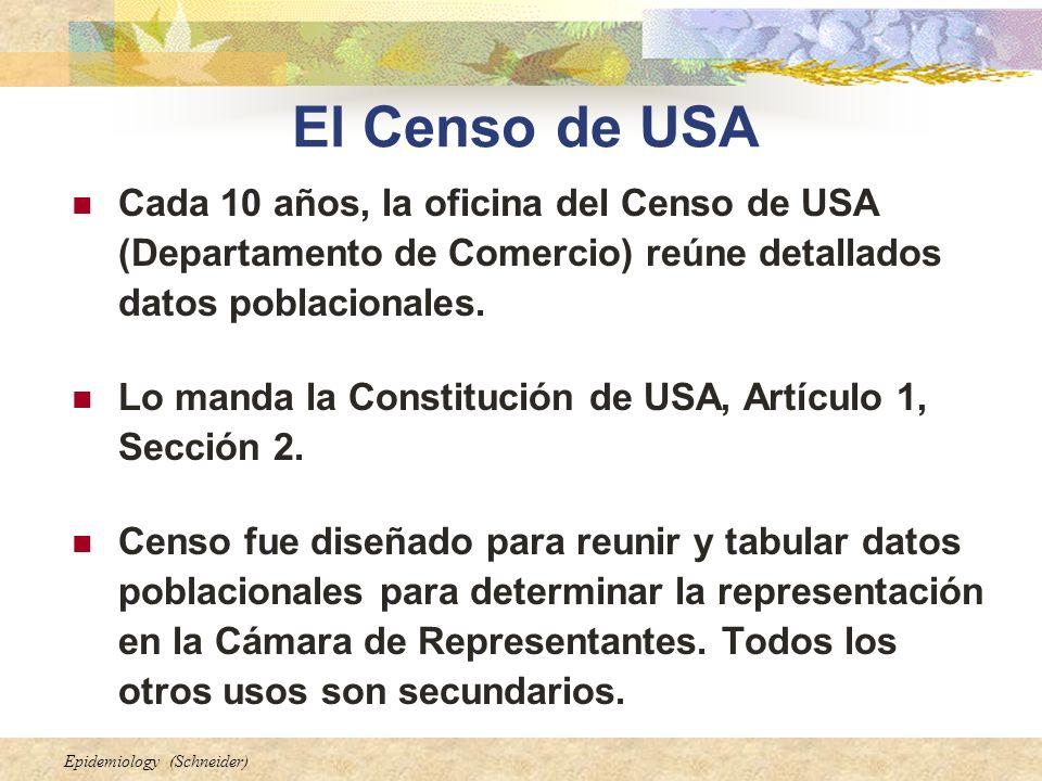 El Censo de USA Cada 10 años, la oficina del Censo de USA (Departamento de Comercio) reúne detallados datos poblacionales.