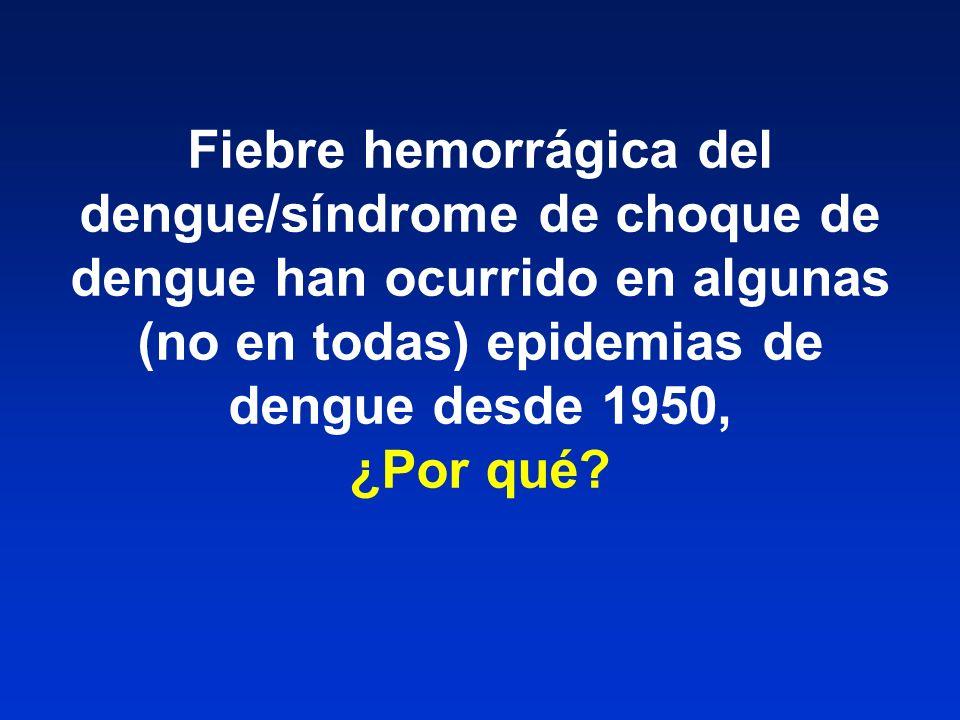 Fiebre hemorrágica del dengue/síndrome de choque de dengue han ocurrido en algunas (no en todas) epidemias de dengue desde 1950, ¿Por qué