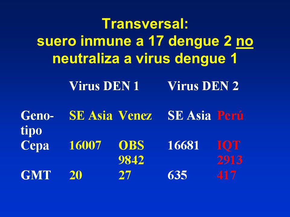 Transversal: suero inmune a 17 dengue 2 no neutraliza a virus dengue 1