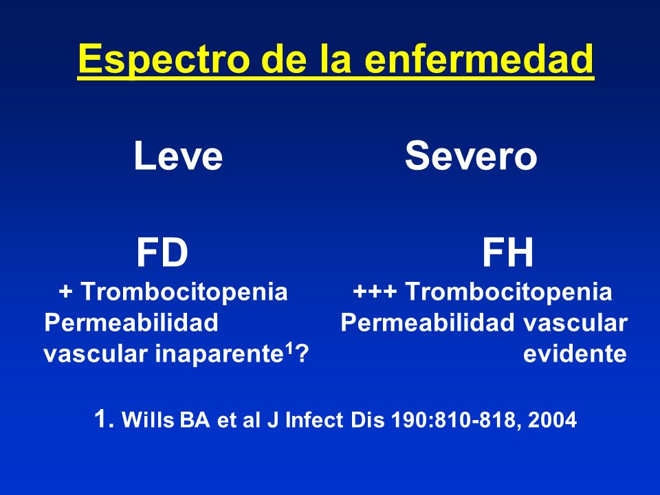 Espectro de la enfermedad Leve Severo FD FH + Trombocitopenia +++ Trombocitopenia Permeabilidad Permeabilidad vascular vascular inaparente1 evidente 1. Wills BA et al J Infect Dis 190:810-818, 2004