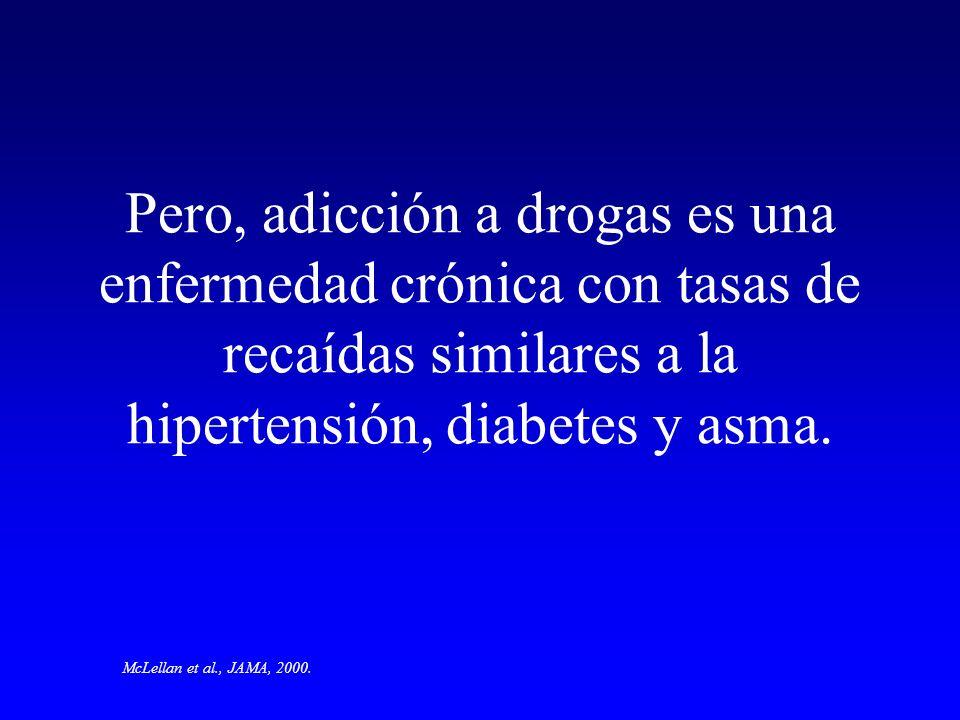 Pero, adicción a drogas es una enfermedad crónica con tasas de recaídas similares a la hipertensión, diabetes y asma.
