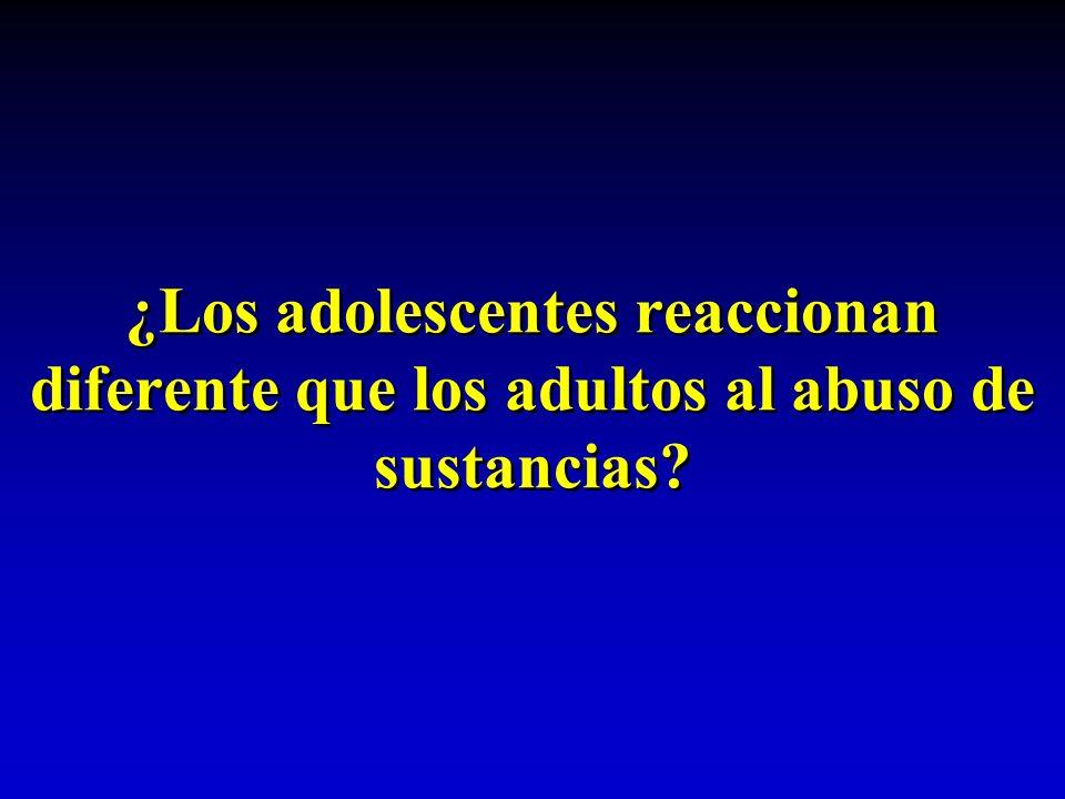 ¿Los adolescentes reaccionan diferente que los adultos al abuso de sustancias