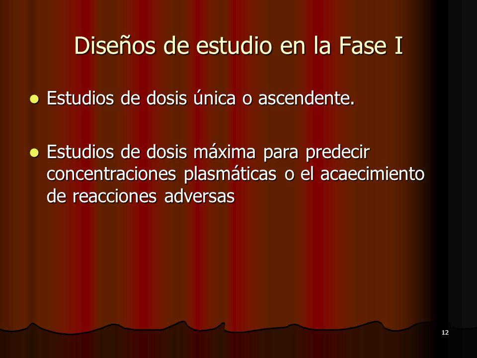Diseños de estudio en la Fase I