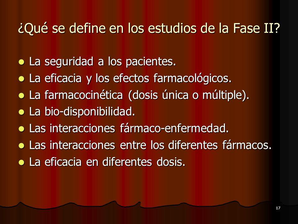 ¿Qué se define en los estudios de la Fase II