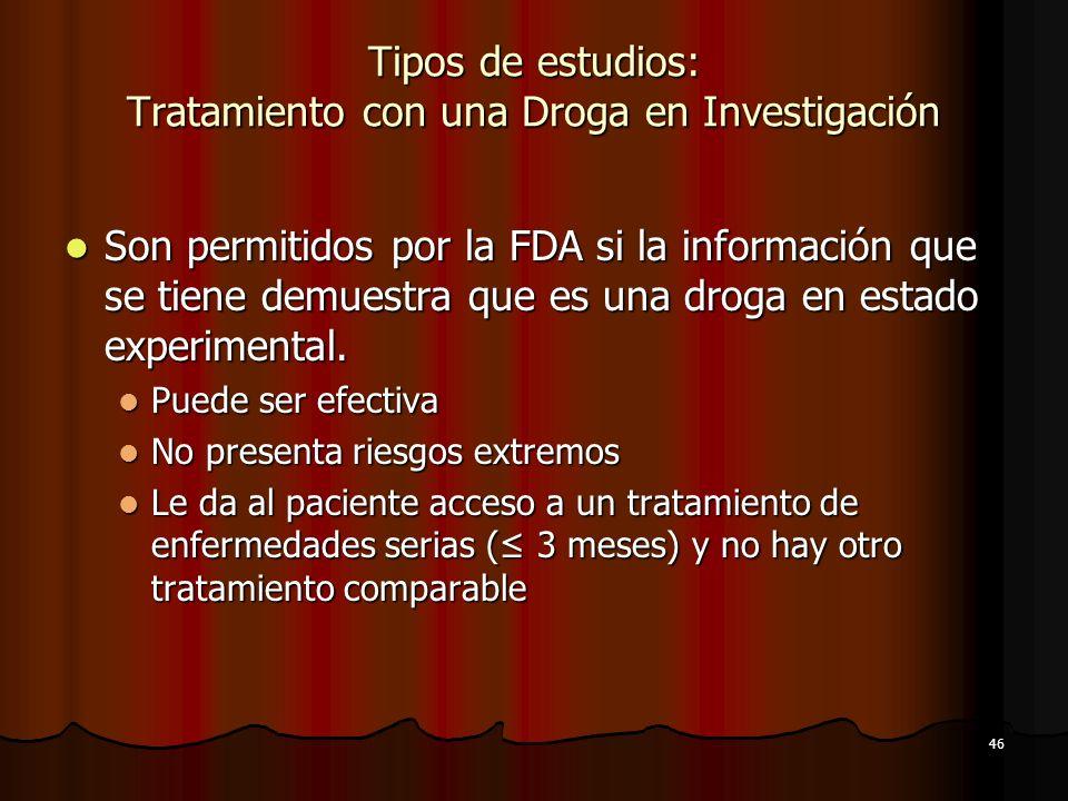 Tipos de estudios: Tratamiento con una Droga en Investigación