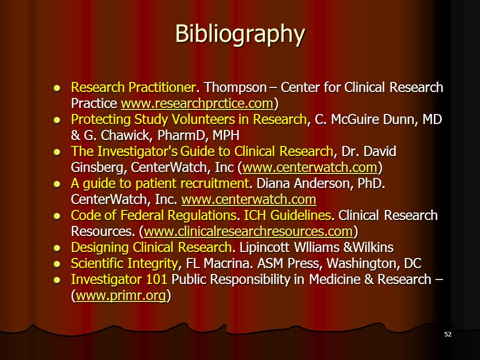Bibliography Research Practitioner. Thompson – Center for Clinical Research Practice www.researchprctice.com)