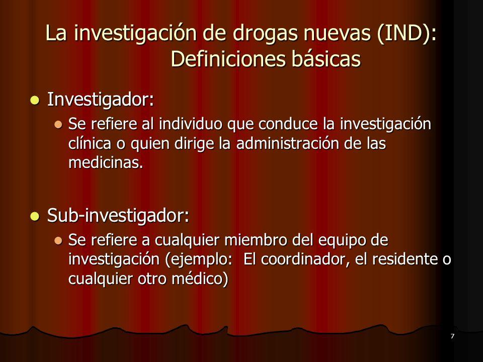 La investigación de drogas nuevas (IND): Definiciones básicas