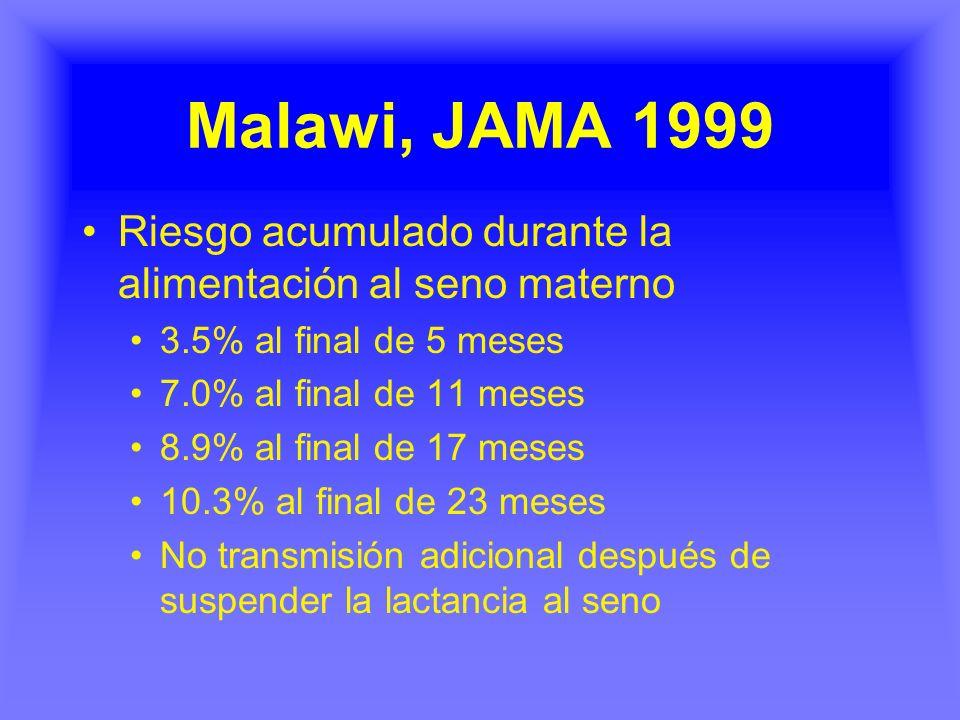 Malawi, JAMA 1999 Riesgo acumulado durante la alimentación al seno materno. 3.5% al final de 5 meses.