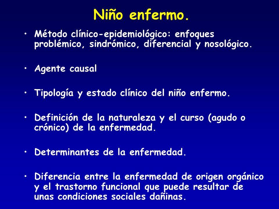 Niño enfermo. Método clínico-epidemiológico: enfoques problémico, sindrómico, diferencial y nosológico.
