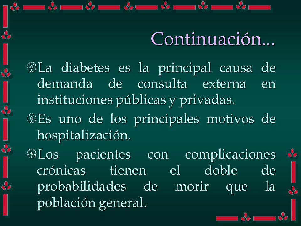 Continuación... La diabetes es la principal causa de demanda de consulta externa en instituciones públicas y privadas.