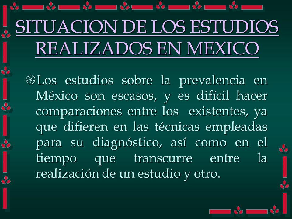SITUACION DE LOS ESTUDIOS REALIZADOS EN MEXICO