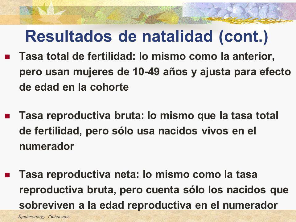 Resultados de natalidad (cont.)