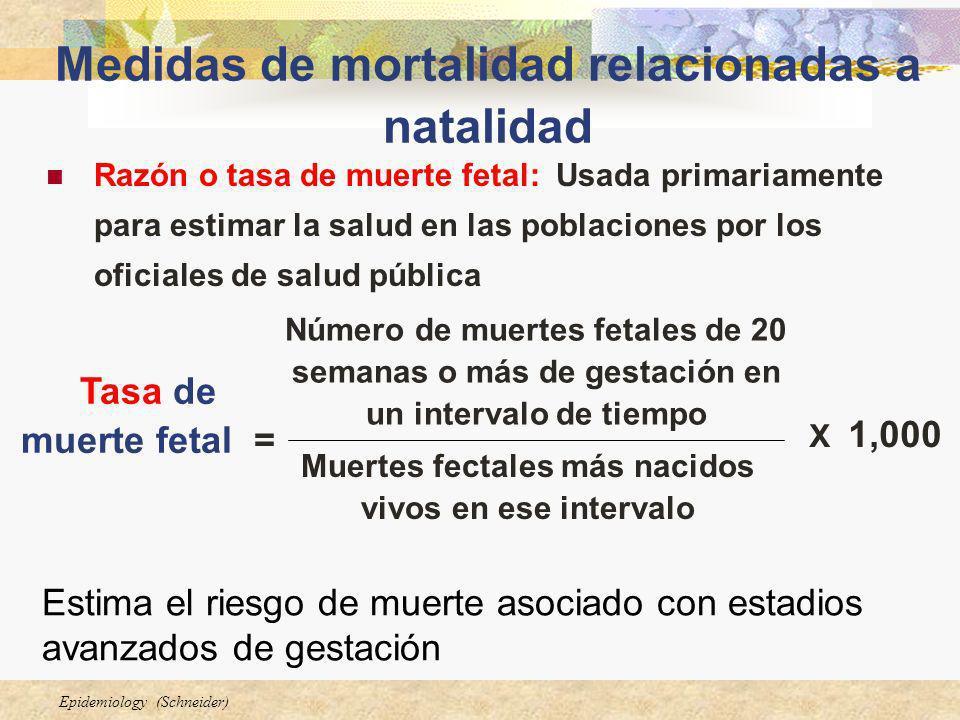 Medidas de mortalidad relacionadas a natalidad