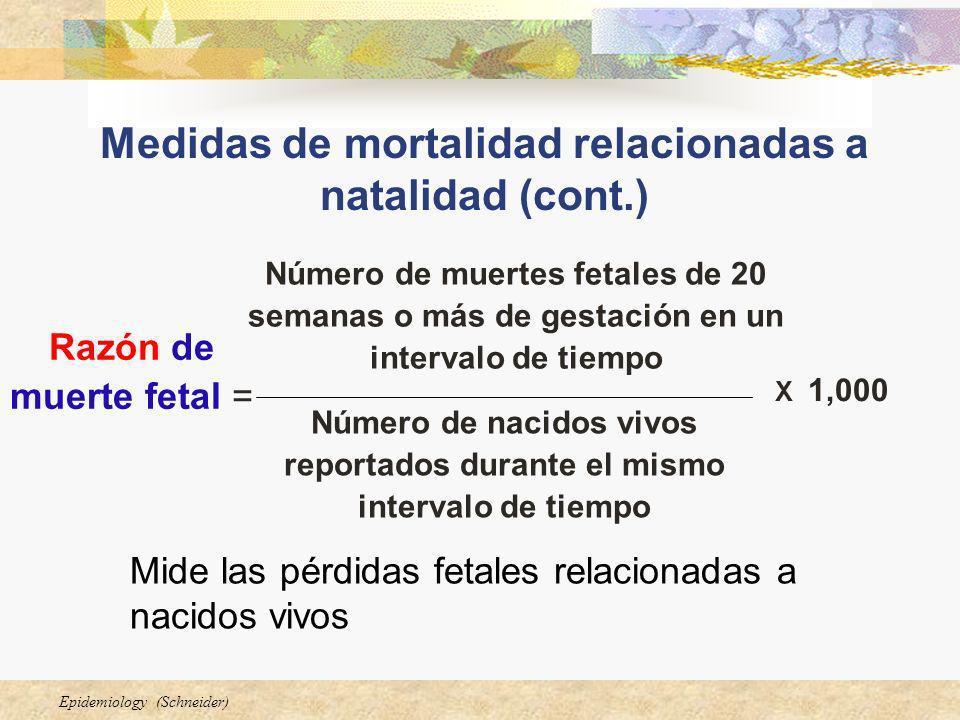 Medidas de mortalidad relacionadas a natalidad (cont.)