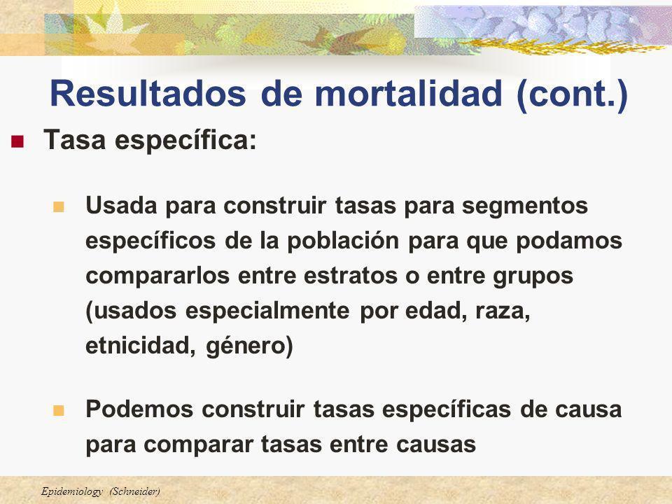 Resultados de mortalidad (cont.)