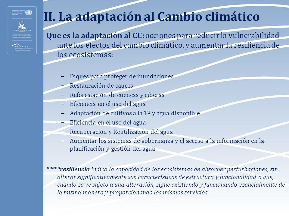 II. La adaptación al Cambio climático