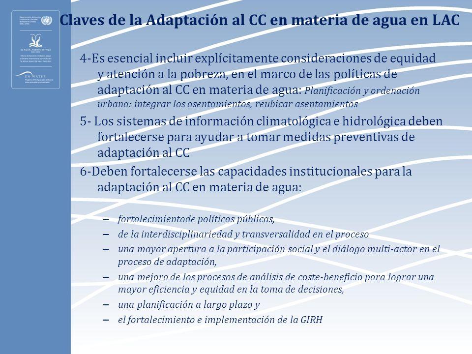 Claves de la Adaptación al CC en materia de agua en LAC
